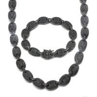 2Pcs Set Men's Bling Rap Jewelry Hiphops Full Filled Iced Out Black Cubic Zircon CZ Coffee Bean Chain Bracelet Necklace