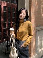 Feste Farbüberlagerung dicke vielseitige Rollkragenbasisbluse für Frauen mit gesprenkelter Mieder gestapeltes Kragen langarm T-Shirt Top 3265