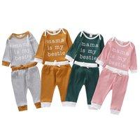 Baby Kleidung Mädchen Kleidung Set Multi-Color Splicing Farbe Boxen Buchstaben Gedruckt Lange Ärmel Hosen Anzug Frühling und Herbst Outfit 2pcs / set Zyy7
