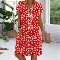 Women's Dress Summer Fashion Women Casual Loose Short Mouwen V-neck Daisy Print Plus Size Flapper Jurk 2020 #25