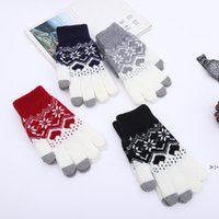 Creative Fashion Snowflake Printing Gloves Mobile Phone Touch Screen Knitted Winter Thick & Warm Adult Glove Men Women OWF11327