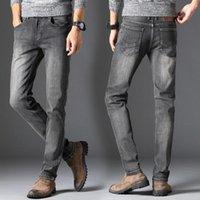 Men's Jeans Men Gray Straight Fit Denim Pants Good Quality Male Four Seasons Casual Long Stretch 40