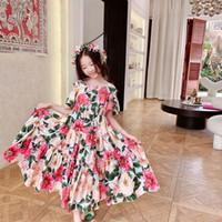 2021 شحن مجاني الطفل بنات اللباس جديد الصيف أطفال فتاة الأميرة فساتين الزهور الحلو اللباس جميل عارضة زي ملابس الأطفال