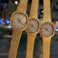 Дамы антикварные часы, полные алмазные циферблаты Уникальный ретро в стиле ретро кварцевый передвижение 29,6 * 26,6 мм Модные наручные часы Монте-де-Люкс Высочайшее качество Бесплатный транспорт