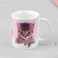 Sublimation Blanks Mug Personality Thermal Transfer Ceramic Mug 11oz White Water Cup Party Gifts Drinkware sea shipping NHE10364