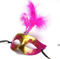 Máscara de fiesta Oro Glitter Máscaras Venecia Unisex Sparkle Mascarada Mascarada Plastic Half Face Mask-Halloween Mardi Gras Toy Toy 6 Colores HWF8428