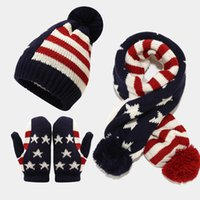 Boys Girls Winter Hat Scarf Gloves Three Pieces Set UK USA Flag Outdoor Keep Warm Kids Ski Hats Scarves Sets Thick Windstop