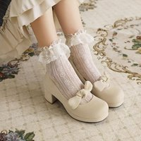 Dress Shoes Spring 2021 Laurie Sweet Large Women's Thick Middle Heel Buckle Bow Round Head Size Single