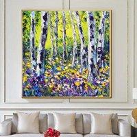 Abstrakte Birke-Baum-Kunst-Ölgemälde-echte handgemalte Wanddekorkunst-Innenraum-Dekoration Acryl Wandbehänge Kunstwerk