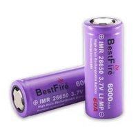 Bestfire authentique IMR 26650 6000MAH 60A 3.7V Batteries de lithium rechargeables au stock 100% authentique