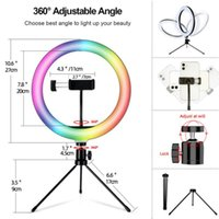 Flash Heads 26CM RGB Fill Pography Lighting Phone Ringlight Tripod Stand Po Led Selfie Remote Control Ring Light Lamp Youtube Live