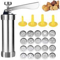 Moules de cuisson Biscuit Press Set Ensemble Cookie Maker Machine Kit en acier inoxydable 20 Disques 4 Conseils de glaçage Spritz Dough Biscuits Faire des outils