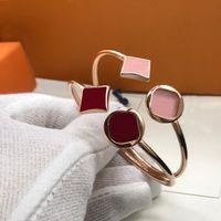 Bracelete Unisex Fashion Belt Braceletes Trevo pedra jóias para homem mulher ajustável 12 cor com caixa