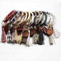 Bracelet en cuir Keychain Léopard Pu Bracelets Bracelets O Cleon Bague avec signe en bois rond Bracelet Bracelet Bracelet Bijoux Cadeau