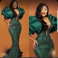 Aso Ebi Dark Green Prom Dresses Puff Sleeves 비즈 가운데 머더 이브닝 가운 플러스 사이즈 특별 행사 파티 드레스 아프리카 여성 흑인 소녀 2021