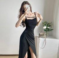 Casual Dresses COIGARSAM Women Korean Dress One Piece Summer Fashion Sexy Solid Spaghetti Strap Sheath Black Robe Traf