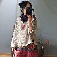 جون ناضج المرأة خمر التصحيح القمصان الكتان الأصلي الصيف الملابس الجديدة فضفاضة النمط الصيني بلون الإناث القمصان 210226
