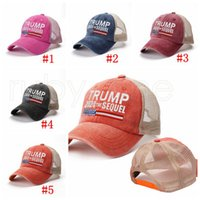 Donald Trump 2024 Baseball Cap Patchwork Washed Distressed Outdoor Sports Embroidered Trump Sequel Mesh Hats Party Favor RRA4344