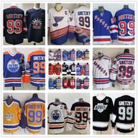 남자 아이스 하키 99 Wayne Gretzky Jersey 남자 뉴욕 레인저스 세인트 루이 블루스 라 로스 앤젤레스 킹스 에드먼턴 오일러 블루 화이트 레트로 빈티지 05