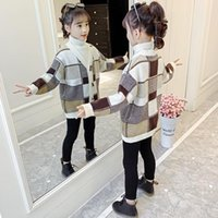 Pullover Children Cardigan Knitted Sweater Loose Tops Thicken Jacket 2021 Single-breasted Girls V-neck Oversized Winter