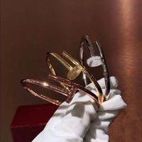 الكلاسيكية مسمار الماس سوار الأزياء التيتانيوم الصلب الذهب والفضة روز الذهب للجنسين تصميم فاخر مجوهرات الأصلي هدية مربع التعبئة والتغليف
