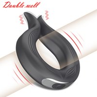 Silicone Cock Ring Vibrating Penis Delay Ejaculation Erection Lock Vibrator Long Lasting Erotic Sex Toys for Men