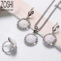 Earrings & Necklace White AB Rhinestone Imitation Druzy Drusy Jewelry Set Women Round Pendant Resin Stone Drop Ring Antique Silver