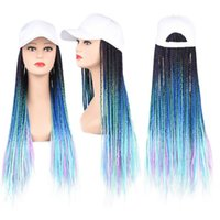 Synthetic Wigs 24inch Long Braids Wig Baseball Cap With Braided Box Black White Women Daily Wear Blue Green Brown Red