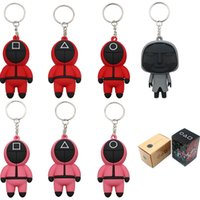 With No Box Squid Game Keychain TV Popular Toy Key Ring Chain Jewelry Anime Surrounding Wooden People Pontang Silicone Pendant Bag Charm Action Figure Christmas Gift