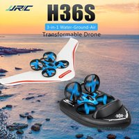 JJRC H36S Mini Drone, Barco de cojín de aire del planeador, juguete de 3 en uno, 3 modelos de mar, tierra y aire, con luces, regalos de cumpleaños para niños navideños, 2-1