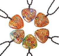 쥬얼리 혼합 컬러 목걸이 무라노 Lampwork 수제 유리 삼각형 모양의 펜던트 목걸이 선물 6 색