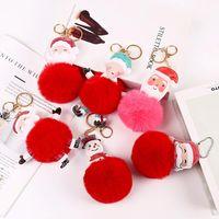Большой красный Красный Санта-Клаус Пушистая ключевая цепь Партия Подарки Подарки из искусственного кролика меховой мяч POM Keychains Женская сумка брелок DWB9288