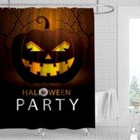 2020 Holloween Waterproof Shower Curtain Set Pedestal Rug Toilet Seat Cover Anti Slip Bath Mat Pumpkin Printed Bathroom Decor H0910