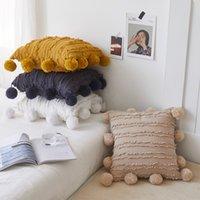 Cubierta de almohada de borlas florales blancas con pompón amarillo gris cojín decorativo cubierta casero Decoración de la almohada Caja de almohada 45x45cm 387 R2