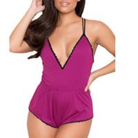 Yeni Sıcak Kadınlar Pijama Pijama Moda Kadınlar Seksi Babydoll Yumuşak Romper V-Boyun Çizgisi Lingerie Gecelik Şort Bielizna Nocna A35
