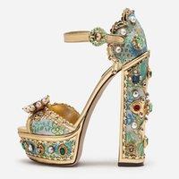 Sandali con piattaforma metallica in pelle metallica gioiello retrò ricamo con tacchi a banchetto Banchetto Dress Scarpe Big Size 10