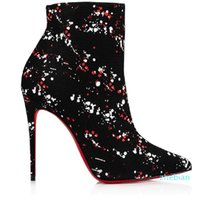 designer Elegant Winter Women Red Bottom Boots Leather printing Fashion Ankle Boot Black Heels suede Lady Sexy Booties Party,Wedd