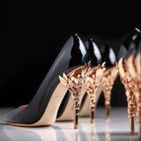 2021 Haute Couture Zapatos Rosa Moda Mujeres Sólido Eden Tacón Bomba Super Sexy Boda Zapato Adornado Filigrana Hoja Punta señalada