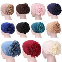 Mütze / Schädelkappen 1 stück Frauen Blume Muslimische Rüschenkrebs Chemo Hut Beanie Schal Turban Head Wrap Cap