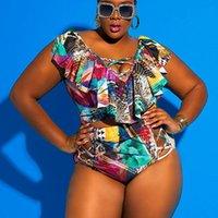 Women's Swimwear Plus Size Women Swimsuit Bikinis 2021 Mujer Print Ruffle High Waist Set Swimming Suit For Beach Biquini