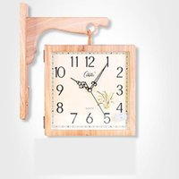 Wall Clocks Solid Wood Clock Double Sided Nordic Modern Mechanism Silent Guess Women Watches Home Decor Kitchen Living Room 5Q335