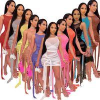 Donne Night Club Wear Sexy Sheer Dress Plus Size Milkirt Miniskirt senza maniche Skinny Bandage Abito da un pezzo Abito moda pacchetto moda hip gonna 2021