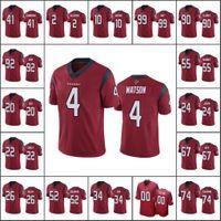 "Houston ""Texans"" Men # 4 Deshaun Watson 99 J.J. WATT 10 DEANDRE HOPKINS Mujeres Juventud Custom Red Vapor Unouchable Limited Jersey"