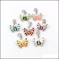 Conclusions de bijoux Composants bijoux 42pcs Mélanger Couleur Sier Plated Enamel Strass Butterfly Charms Pandents 22x34mm et Fermoir au homard B