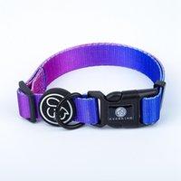 Glänzendes Nylonmaterial Großhandel Hundehalsbänder personalisiertes Design Haustier-Zubehör erhältlich mit s m l Größe