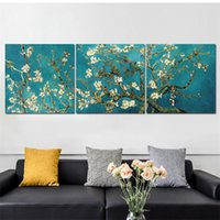 Van Gogh Famous Oil Painting Almond Blossom Reproduction Canvas Wall Art Prints Flower Poster Pictures For Room Decoration 210310