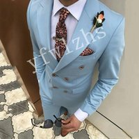 Classic Double-Breasted Wedding Tuxedos Peak Lapel Handsome Slim Fit Suits For Men Groomsmen Suit Prom Formal (Jacket+Pants+Tie) W661