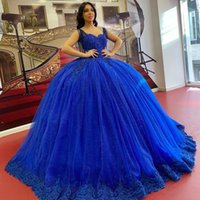 Stunning Blue Ball Gown Quinceanera Dresses 2022 Lace Beading Tassels Prom Gowns Glitter Sweet 16 Party Dress