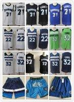 Pour des hommesMinnesotaTimberwolvesRetour Kevin 21 Garnett Karl-Anthony 32 Villes Andrew 22 Wiggins Shorts Basketball Jerseys Green