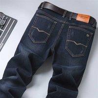 ربيع الرجال الكلاسيكية الأزرق الأسود سليم صالح جينز الأعمال القطن مرنة منتظم تناسب الدينيم السراويل الذكور ماركة السراويل 211012